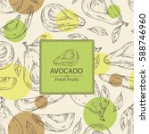 background with avocado and... | Shutterstock .eps vector #588746960