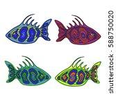 doodle fish. | Shutterstock .eps vector #588750020