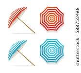 Sun Umbrella Set Striped Beach...