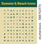 summer and beach icons set | Shutterstock .eps vector #588752570