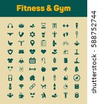 fitness and gym icons set | Shutterstock .eps vector #588752744