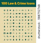100 law and crime icons set | Shutterstock .eps vector #588752768