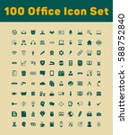 100 office icons set | Shutterstock .eps vector #588752840