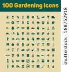100 gardening icons set | Shutterstock .eps vector #588752918