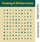 cooking and kitchen icons set | Shutterstock .eps vector #588752990