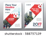 red color scheme with city... | Shutterstock .eps vector #588757139