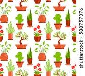 home plants seamless pattern... | Shutterstock .eps vector #588757376