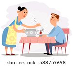 vector illustration of a wife... | Shutterstock .eps vector #588759698