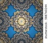 seamless golden texture curls.... | Shutterstock .eps vector #588760244