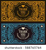 thank you vintage greeting card ... | Shutterstock .eps vector #588765764