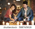 tonight couple serving sushi... | Shutterstock . vector #588765818