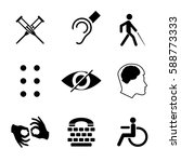 vector disabled signs with deaf ... | Shutterstock .eps vector #588773333