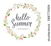 hello summer  modern hand drawn ... | Shutterstock .eps vector #588775004