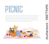 picnic  outdoor relax vector... | Shutterstock .eps vector #588775490