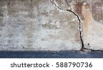 big crack in old messy concrete ... | Shutterstock . vector #588790736