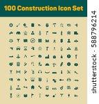 100 construction icon set   Shutterstock .eps vector #588796214