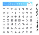 set of 56 religion line icons... | Shutterstock .eps vector #588800288
