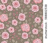 floral seamless pattern with... | Shutterstock .eps vector #588802538