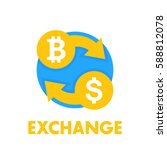 bitcoin exchange icon over white | Shutterstock .eps vector #588812078