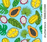 pattern of tropical fruits and... | Shutterstock .eps vector #588820388