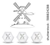 windmill vector icon. mill. | Shutterstock .eps vector #588824288