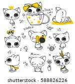 Set Of Vector Cute Cats In...