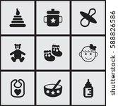 set of 9 editable baby icons....