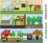 vector set of school building... | Shutterstock .eps vector #588828698