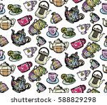 doodle pattern with cup and... | Shutterstock .eps vector #588829298