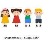 group of happy children jumping ... | Shutterstock .eps vector #588834554