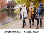 british muslim female friends... | Shutterstock . vector #588835034