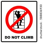 do not climb on shelving sign.... | Shutterstock .eps vector #588836930