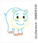 vector coloring book of cute... | Shutterstock .eps vector #588839150