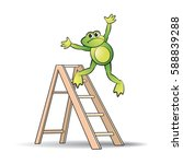 frog falls from ladder in color ... | Shutterstock .eps vector #588839288