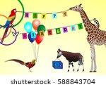 happy birthday picture  animals ...   Shutterstock .eps vector #588843704