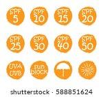 uv skin protection concept.hand ... | Shutterstock .eps vector #588851624
