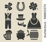 st. patricks day symbols set  ... | Shutterstock . vector #588852374