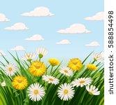 fresh spring  fields  meadows ...   Shutterstock .eps vector #588854498