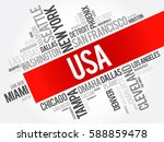 usa cities names words cloud... | Shutterstock .eps vector #588859478