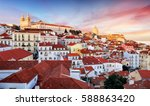 lisbon  portugal town skyline... | Shutterstock . vector #588863420
