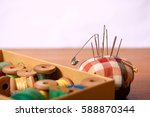 set of old sewing accessories... | Shutterstock . vector #588870344