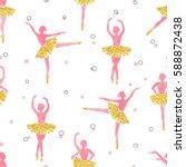watercolor seamless ballerinas...   Shutterstock .eps vector #588872438