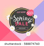 spring sale label with... | Shutterstock .eps vector #588874760