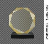 glass transparent trophy award.   Shutterstock .eps vector #588874859