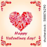 greeting card for valentines... | Shutterstock . vector #588876290