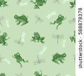 seamless watercolor frogs...   Shutterstock .eps vector #588878378