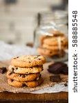beautiful round chocolate... | Shutterstock . vector #588885548