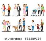 happy family set  vector... | Shutterstock .eps vector #588889199
