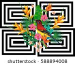 seamless summer tropical... | Shutterstock .eps vector #588894008