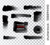 set of black paint  ink brush... | Shutterstock .eps vector #588894440